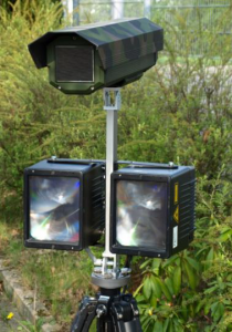VDFLR video camera and laser. Surveillance + evaluation. Weatherproof housing. Day + night operation